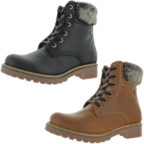 Pajar Women's Panthil Leather Waterproof Cold Weather Winter Combat Boots