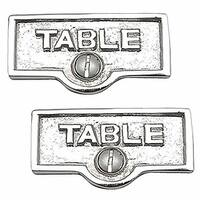 2 Switch Plate Tags TABLE Name Signs Labels Chrome Brass | Renovator's Supply