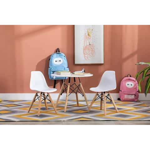 Porthos Home Brock Kids Chairs Set Of 2, Plastic Seat, Beech Wood Legs