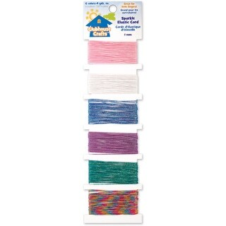 Clubhouse Crafts Elastic Cord-Sparkle - 4yd Each Of 6 Colors - sparkle - 4yd each of 6 colors