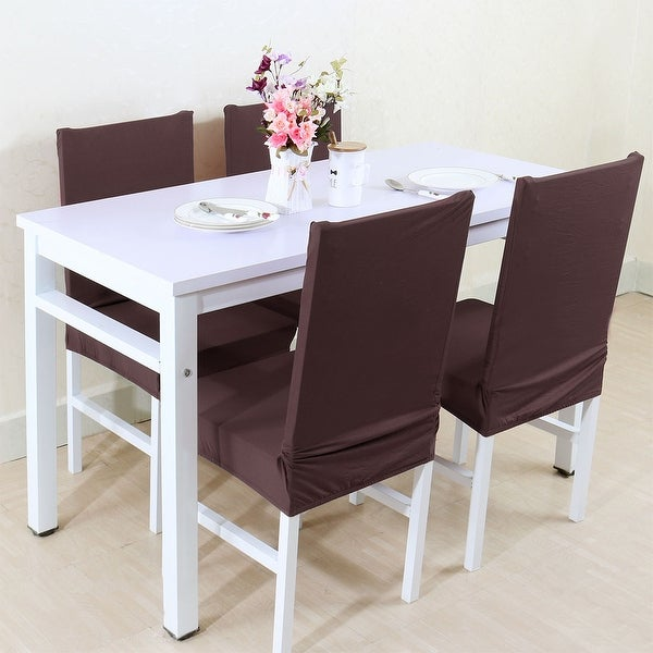 dining room chair back covers | Shop Unique Bargains Coffee Spandex Stretch Washable ...