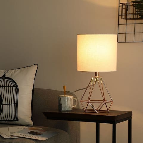 CO-Z 18-Inch Modern Table Lamp with Open Frame Metal Base for Living Room Bedroom