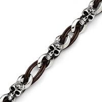 Chisel Stainless Steel Polished Skulls/Roses Brown Leather Bracelet