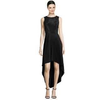 Parker Black Khloe Beaded Pleated Hi-Lo Sleeveless Cocktail Evening Dress Black