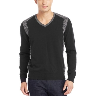 Kenneth Cole Reaction Cotton V-Neck Sweater Medium M Black and Gray Trim