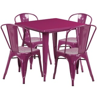 Brimmes Square 31.5'' Purple Metal Indoor-Outdoor Table Set w/4 Stack Chairs for Restaurant/Bar/Pub/Patio