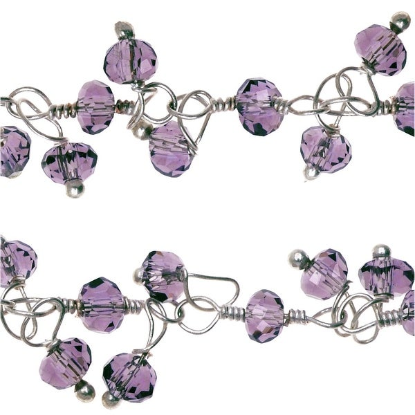 Sterling Silver Wire Wrapped Dangle Chain, 3.5mm Glass Rondelles, 1 Inch, Purple