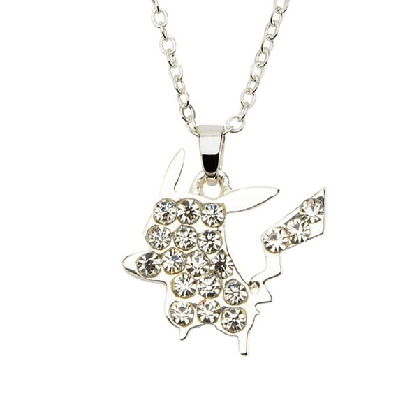 Pokemon Pikachu w/ Gems Silver Pendant Necklace - multi