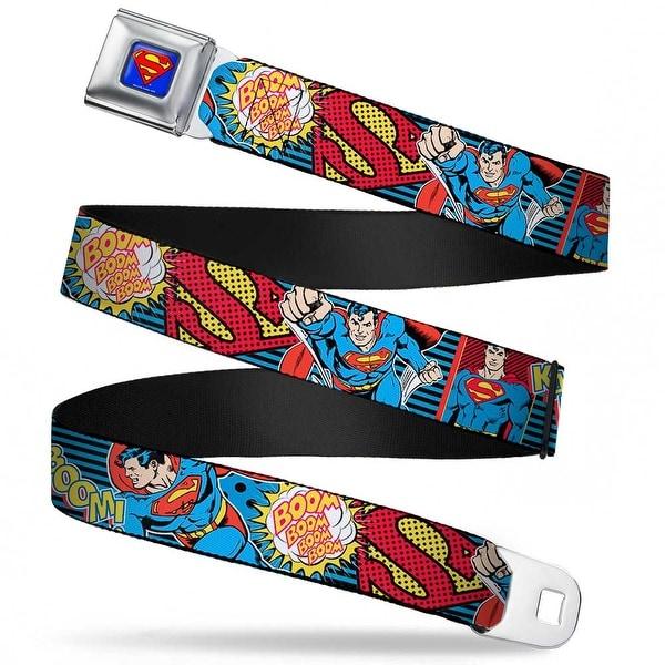 Superman Full Color Blue Superman Logo Poses Action Bubbles Pop Collage Seatbelt Belt