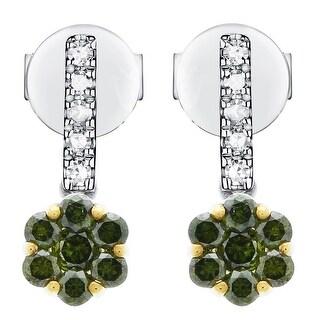 0.51Ct Green Diamond & Natural Diamond Drop Earring, Sterling Silver - N/A