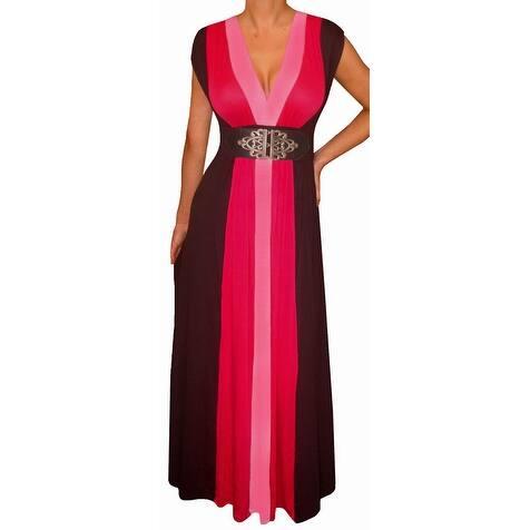Funfash Plus Size Pink Slimming Block Cocktail Maxi Dress