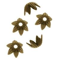 Antiqued Brass Beaded Six Petal Flower Bead Caps - 6mm (50)