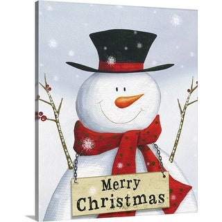 """Merry Christmas Snowman"" Canvas Wall Art"