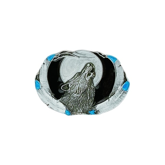 Howling Wolf Head with Full Moon Belt Buckle - One size