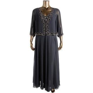 JKara Womens Plus Chiffon Beaded Dress With Jacket - 20W
