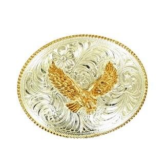 Crumrine Western Belt Buckle Patriotic Oval Eagle Silver Gold C1036917 - 2 3/4 x 3 1/2