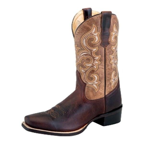 Old West Cowboy Boots Men Cowboy Heel Lined Strap Stitching Brown
