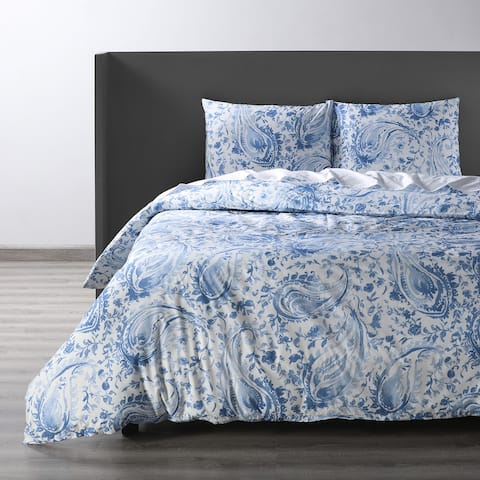 Exclusive Fabrics Mystic Blue Cotton Percale Printed Duvet Cover Set