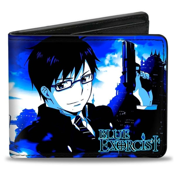 Blue Exorcist Yukio Pose + Rin Pose Blues Black White Bi Fold Wallet - One Size Fits most