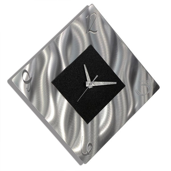 Statements2000 Black / Silver 17-inch Metal Hanging Wall Clock - Prediction Clock
