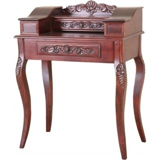 Inc Carved Wood Two Drawer Telephone Table - Brown