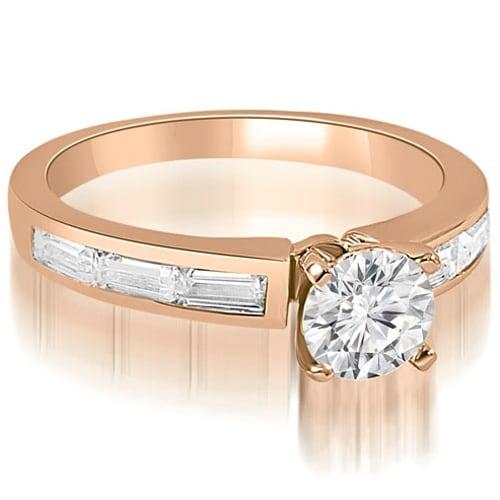 1.75 cttw. 14K Rose Gold Elegant Round Baguette Cut Diamond Engagement Ring