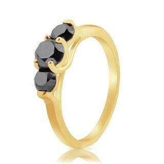 Attractive 1.57 Round Brilliant Cut Black Color Natural Diamond Trilogy Ring