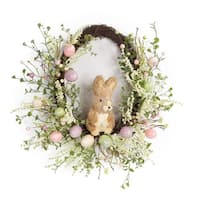 "Pack of 2 Spring and Easter Eggs and Rabbit Floral Wreath 22"" - Brown"