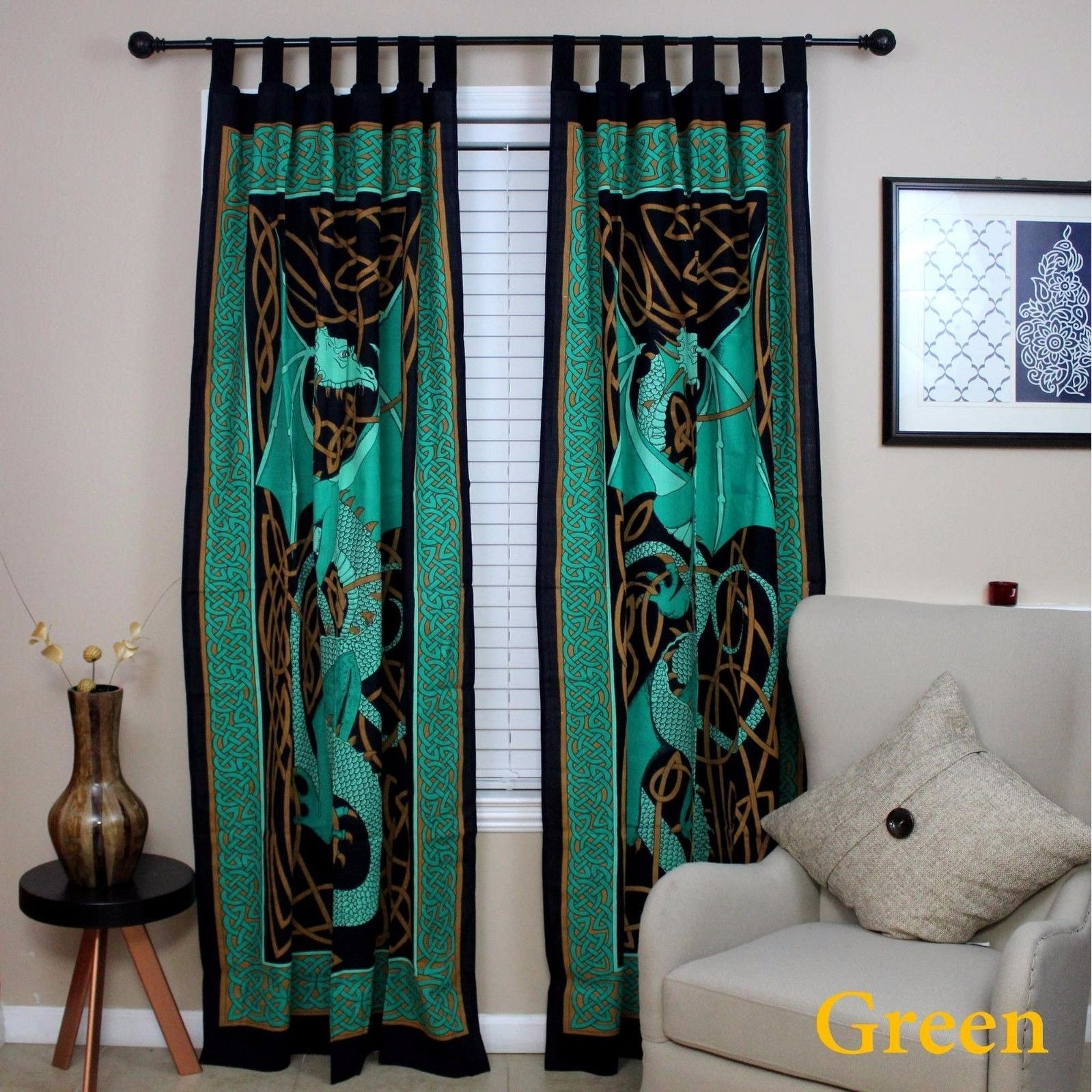 Handmade Celtic Dragon Curtain 100% Cotton Drape Panel 44 x 88 inches in Green Red Brown Blue - 44 x 88 inches - Thumbnail 6