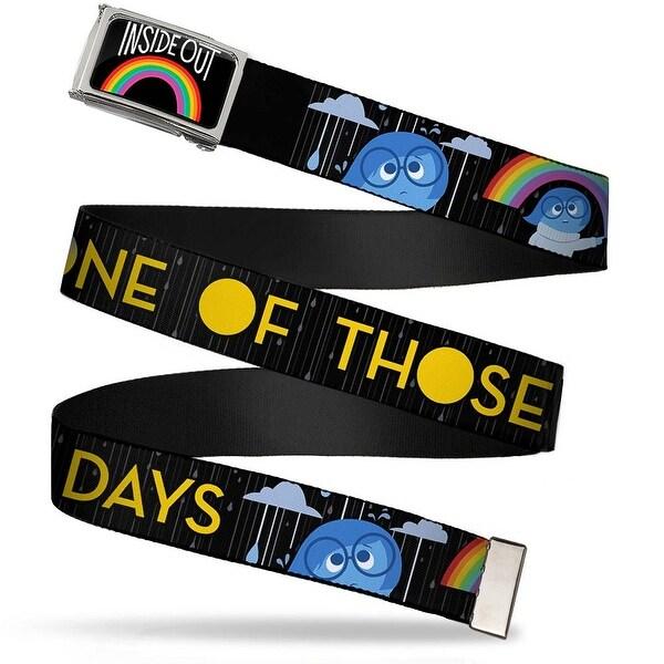Inside Out Rainbow Fcg Black White Multi Color Chrome Joy Poses Rain Web Belt