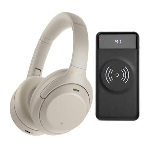 Sony WH-1000XM4 Wireless Over-Ear Headphones (Silver) Bundle