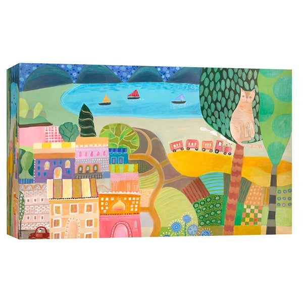 """PTM Images 9-102114 PTM Canvas Collection 8"""" x 10"""" - """"Village With Train"""" Giclee Abstract Art Print on Canvas"""