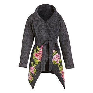 Rising International Women's Embroidered Roses Sweater - Gray Floral Accent Wrap
