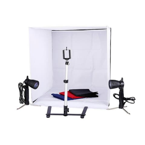 "24""/60cm Folding Mini Studio Shooting Tent Photography Lighting Kit w/Backdrop"