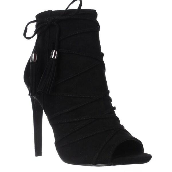 madden girl Koorset Peep Toe Tassel Ankle Boots, Black