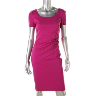 Diane Von Furstenberg Womens Ruched Short Sleeves Wear to Work Dress
