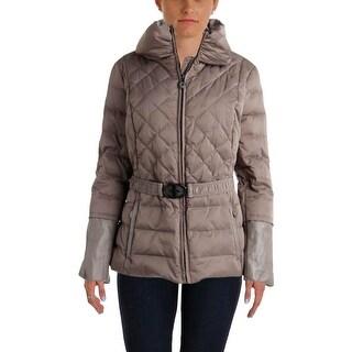 Elie Tahari Womens Down Leather Trim Puffer Coat
