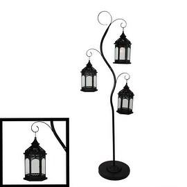 "70"" Rustic Black Pillar Candle Holder Tree with 3 Decorative Lanterns"