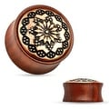 Floral Tribal Pattern Rose Wood Saddle Fit Plug (Sold Individually) - Thumbnail 0