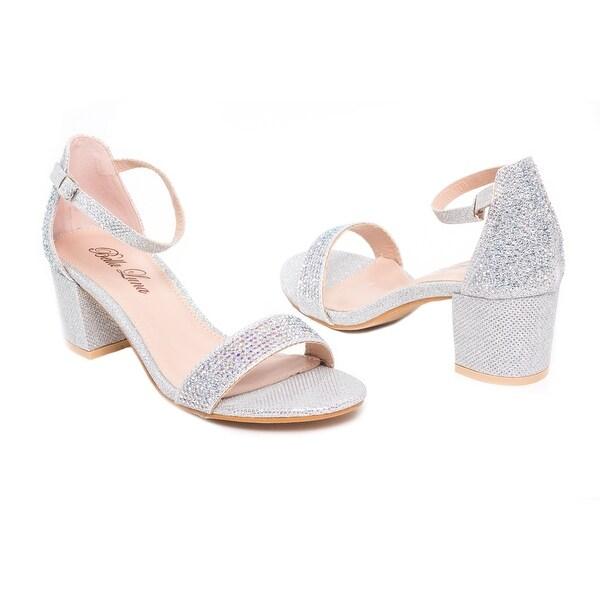 Embellished Block Heel Ankle Strap Sandal
