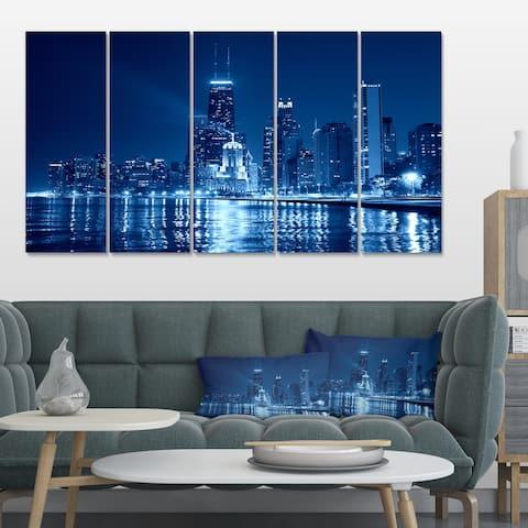 Designart 'Blue Chicago Skyline Night' Cityscape Photo Large Canvas Print - Blue