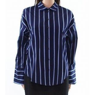 TopShop NEW Blue Women's Size 6 Striped Tie Back Button Down Shirt