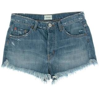 Hudson Jeans Womens Tori Distressed Medium Wash Cutoff Shorts - 30
