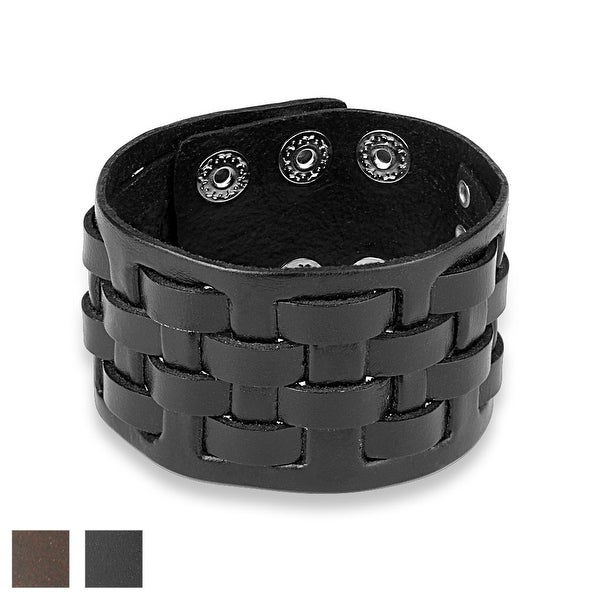 Weaved Checker Adjustable Leather Bracelet (Sold Ind.)