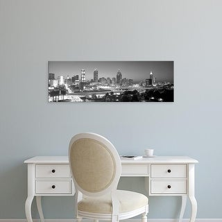 Easy Art Prints Panoramic Images's 'Atlanta Skyline at Dusk (After Olympics), grayscale, Georgia' Premium Canvas Art