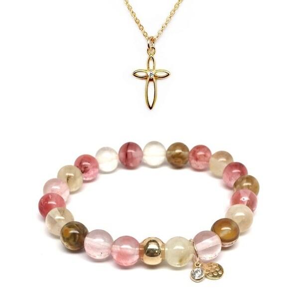 """Pink Cherry Quartz 7"""" Bracelet & CZ Cross Gold Charm Necklace Set"""