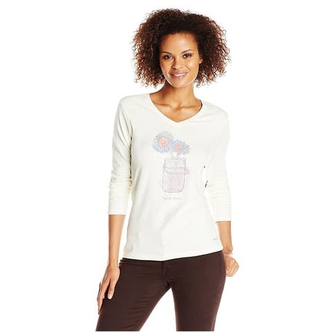 Life Is Good Womens Crusher Vee Half Jar Graphic T-Shirt