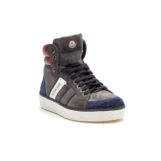 Moncler Lenny Men's Leather Suede High Top Lace Up Sneaker Grey Blue Red