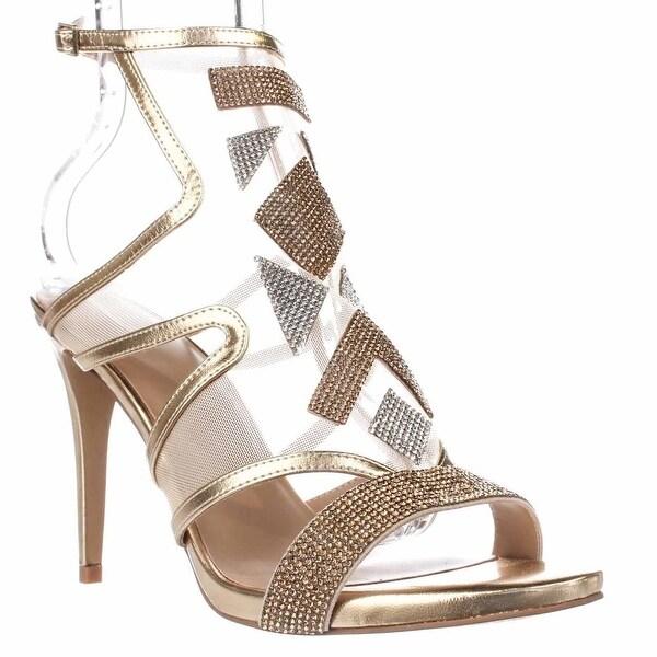 TS35 Regalo Rhinestone Mesh Dress Sandals, Champagne