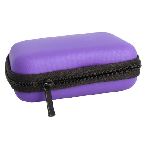 Earphone Mobile Charging Cable Rectangle Carrying Case Pouch Bag Box Purple